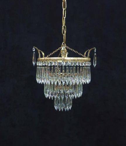 Art Deco Italian Three Tier Crystal Glass Chandelier (1 of 7)