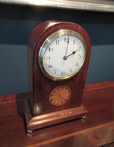 Antique Sheraton Inlaid 8 Day Mantel Clock (1 of 7)