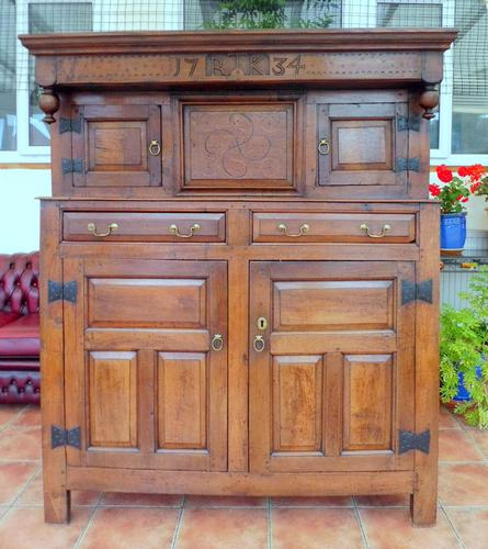 Country Oak Court Cupboard 1734 Carved Initials RTK (1 of 14)