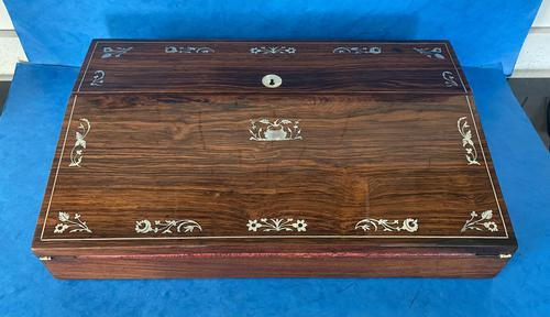 William IV Rosewood Lap Desk with Mother of Pearl Inlay (1 of 12)