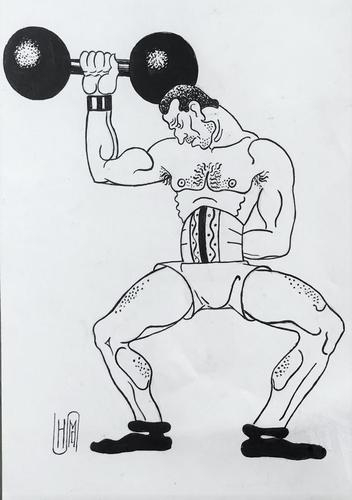 Original Pen & Ink Drawing 'The Strongman from the Travelling Circus' by Hector Macdonald Sutton 1903-1995. Monogrammed c.1935 (1 of 1)
