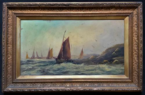 19thc (British School) Fishing Boats In Rough Seas Oil On Board Painting (1 of 13)