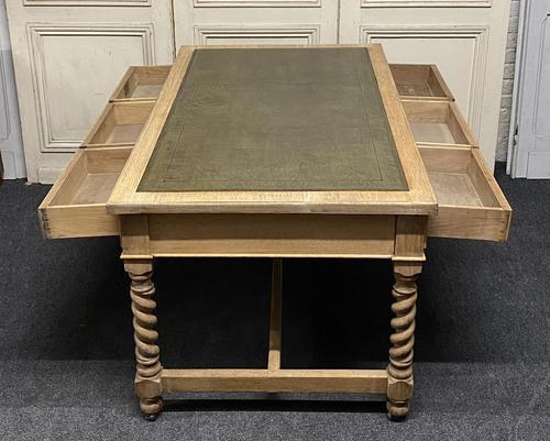 Large Oak 6 Drawer Writing Table (1 of 16)
