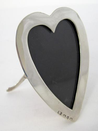 Victorian Silver Heart Shaped Photo Frame with Read Leather Back (1 of 5)