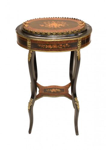 French Side Table Stand Marquetry Inlay c.1880 (1 of 13)