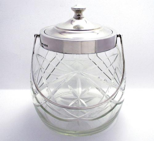 Hallmarked 1927 Solid Sterling Silver Mounted & Cut Glass Biscuit Barrel Cookie Jar Box Container (1 of 9)