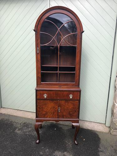 Antique Slim Figured Walnut Bookcase (1 of 12)