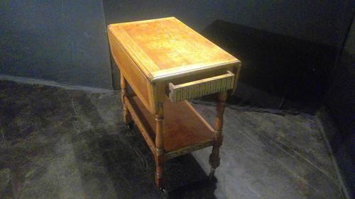 Golden Oak-flap Sided Tea Trolley with Drawer (1 of 4)
