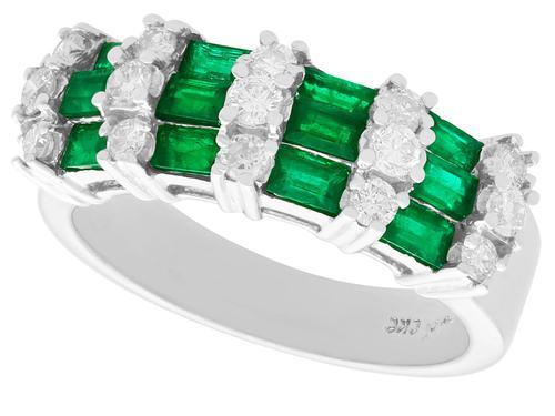 0.75ct Emerald & 0.58ct Diamond 14ct White Gold Dress Ring (1 of 9)