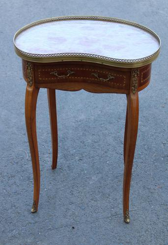 1920s Mahogany Kidney Shaped Side Table with Marble and Drawer (1 of 4)