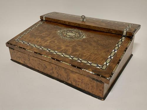 Antique Amboyna Mother of Pearl Inlaid Writing Slope Lap Box (1 of 19)