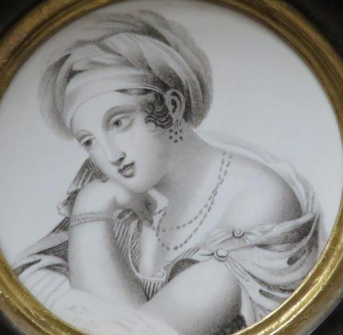 Miniature Portrait en Grisaille Hand Painted 1820 (1 of 3)
