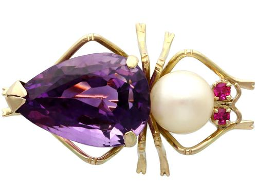 12.39ct Amethyst, Pearl & Ruby, 14ct Yellow Gold Insect Brooch - Vintage c.1960 (1 of 9)