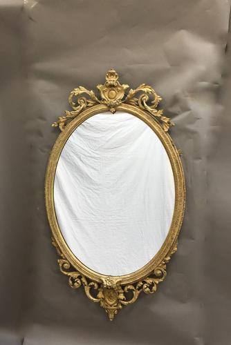 19th Century Ornate Oval Wall Mirror (1 of 16)