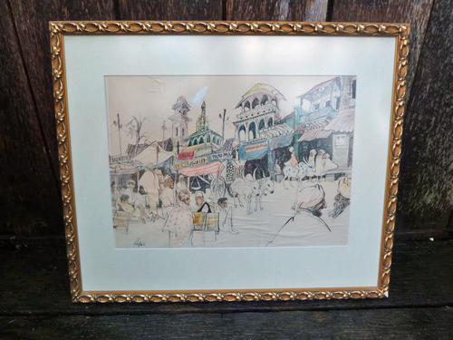 """William Papas """" India  """" Mixed Media Painting 1970's - 6 of 6 Listed (1 of 6)"""