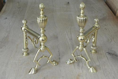 Quality Pair of Large Victorian Brass Fire Dogs Fire Iron Rest Andirons c.1880 (1 of 9)