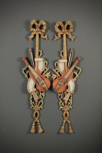Pair of Decorative Carved Wood Wall Hangings (1 of 7)