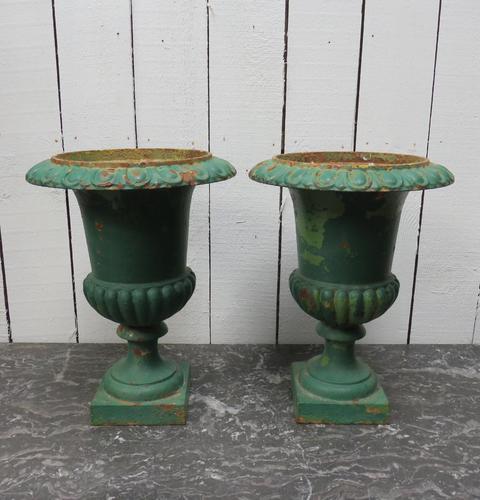 Pair Antique Cast Iron Medici Urns (1 of 7)