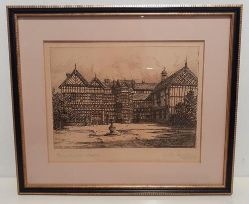"""Etching by  RA Riseley, """"Bramhall Hall"""" (1 of 4)"""
