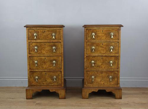 Antique Pair of Burr Walnut Bedside Chests of Drawers (1 of 8)