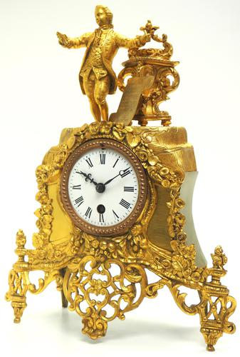 Superb Timepiece Mantle Clock -  Antique 8 Day French Poet Figural Ormolu Mantel Clock (1 of 11)