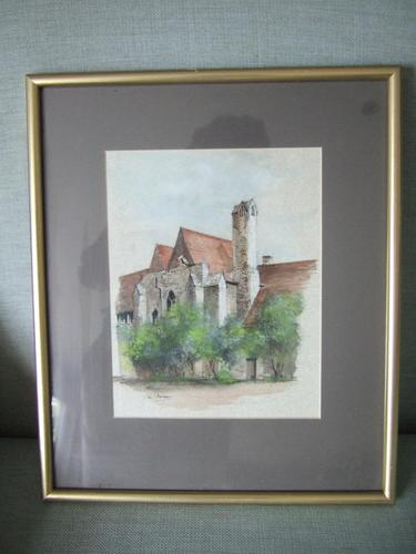"""Ken Messer:  Watercolour of """"The Checker"""", Abingdon 'Part of the Mediaeval Abbey Buildings' (1 of 4)"""