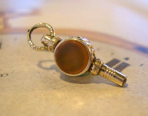 Goergian Pocket Watch Chain Fob 1830s Antique 10ct Gold Filled Stone Set Fob (1 of 9)