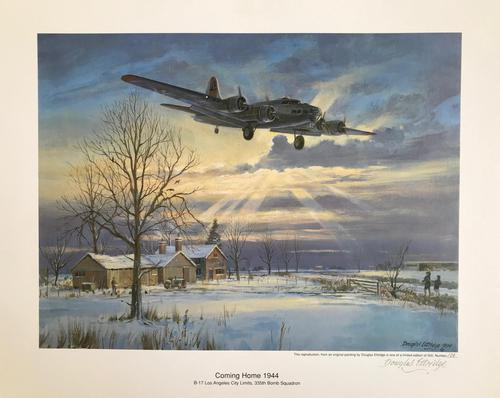 Original lithograph 'Coming home 1944. B.17 Los Angeles City Limits. 355 Bomb Squadron'. By Douglas Ettridge 1927-2009. Signed and numbered 103/500 (1 of 2)