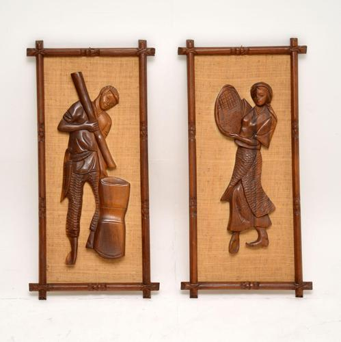1960's Pair of Carved Walnut Decorative Reliefs Wall Art (1 of 11)