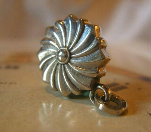 Antique Pocket Watch Chain Fob 1890s Victorian Silver Nickel Puffy Swirl Fob (1 of 7)