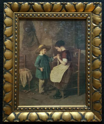Enchanting Early 1900s Continental Portrait Oil Painting of Maid & Little Boy (1 of 12)