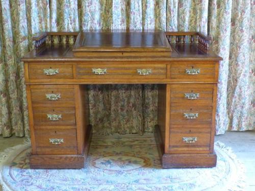 Edwardian Oak Pedestal Desk with Gallery (1 of 9)