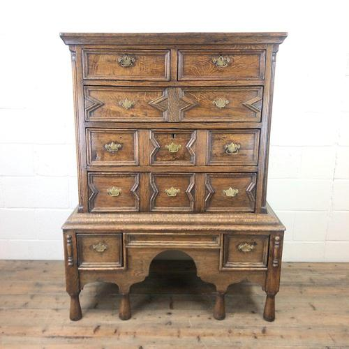 18th Century Antique Oak Chest on Stand (1 of 9)