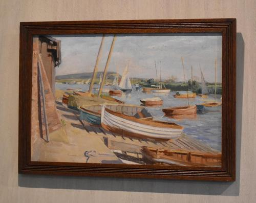 Boats in Harbour Oil Painting by Marjorie Mort (1906-1988) (1 of 6)