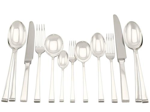 Sterling Silver Canteen of Cutlery for 8 Persons - Art Deco Style - Vintage 1956 (1 of 12)