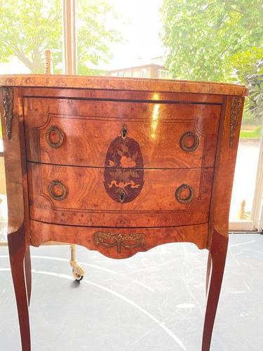 French Walnut Commode with Marble Top & Metal Marquetry (1 of 7)