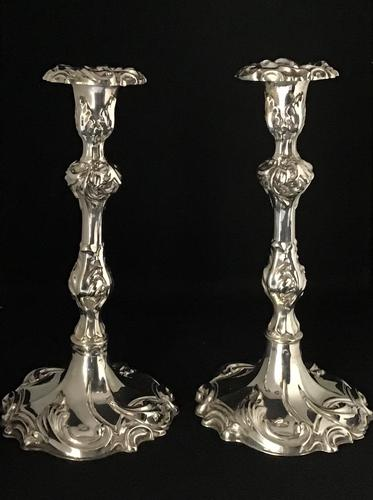 A  Pair  of Rococo Style  Silver Plated Candlesticks. (1 of 4)