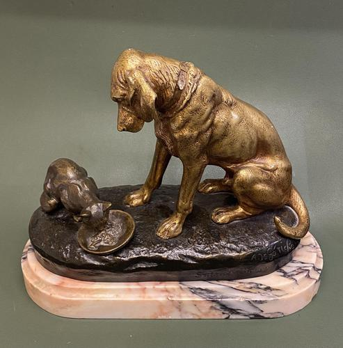 Delightful Patinated Bronze Animalier Study of a Domestic Dog & Cat (1 of 6)