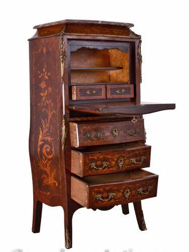 Empire Escritoire Desk - Antique Chest Drawers Inlay 1880 (1 of 6)