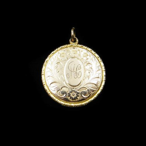 Antique 9ct 9K Yellow Gold Engraved Fancy Round Photo Locket Pendant (1 of 11)