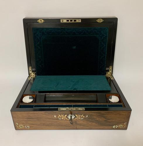 Antique Victorian Rosewood Abalone Mother of Pearl Inlaid Writing Slope Box (1 of 13)