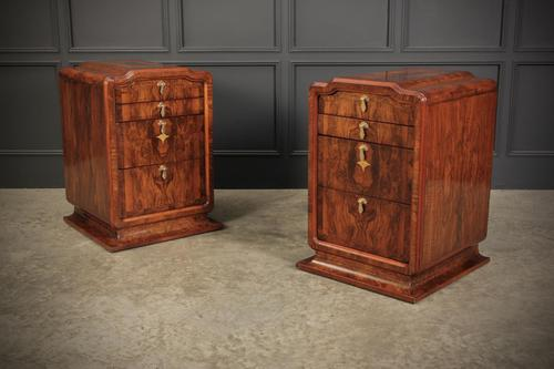 Stunning Pair of Large Figured Walnut Art Deco Bedside Chests (1 of 12)