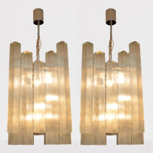 Pair of Large Vintage 1960's Glass Chandeliers by Doria Leuchten (1 of 11)