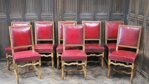 Set of 8 French Leather Dining Chairs (1 of 7)