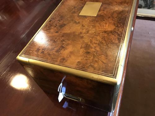 Burr Walnut Brass Inlaid Writing Box (1 of 17)