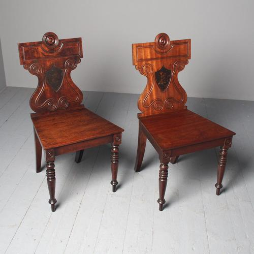Antique Pair of George III Hall Chairs (1 of 12)