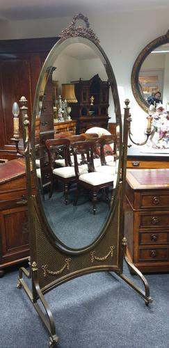 French Gilt Bronze Cheval Mirror (1 of 10)