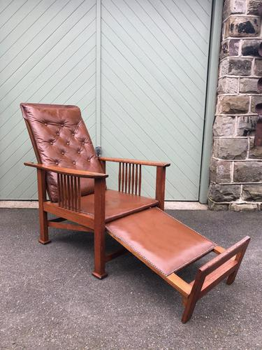 Arts & Crafts Oak & Leather Reclining Armchair (1 of 10)
