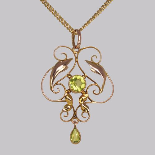 Art Nouveau Peridot Pendant Antique 9ct Gold Pendant & Chain Edwardian Necklace (1 of 7)