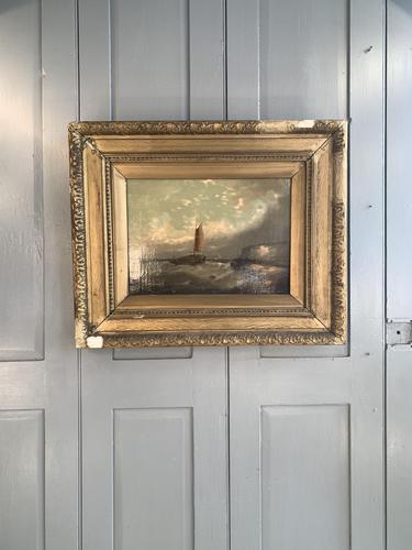 Antique Victorian marine seascape oil painting (1 of 2) (1 of 10)